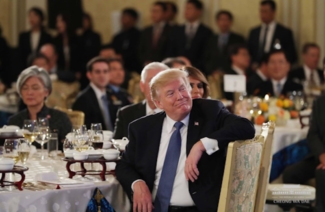 "When it was reported that ballad singer Park Hyo-shin, a member of the revered class of performers South Koreans call ""National Singers"", was chosen to perform at the state dinner attended by Trump, reactions were mixed; a not insignificant amount of disdain was poured out online, embodied by statements like ""Was choosing that song really the best you could do?"" (Image: Blue House Official Facebook)"