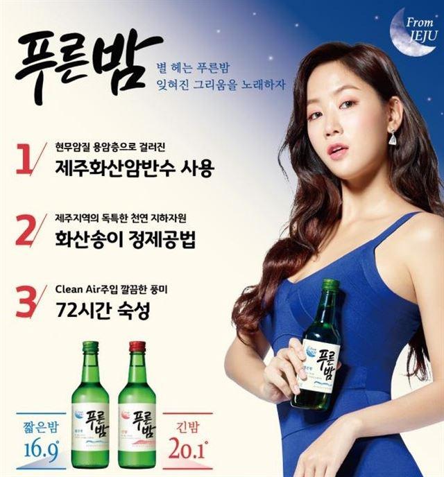 The group says the labels used for Purubam to indicate alcohol content, 'short night', and 'long night' have connotations of terms widely used in the sex industry to refer to the type of sexual services on offer and called for the alcohol company to change the labels. (Image: Jeju Soju)