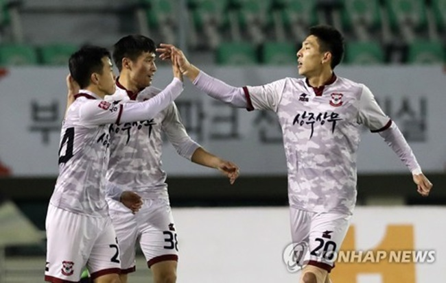 Sangju midfielder Yeo Reum scored only goal in the first leg of the home-and-away series at Gudeok Stadium in Busan. The second leg will take place at Sangju Civic Stadium in Sangju, some 270 kilometers south of Seoul. (Image: Yonhap)