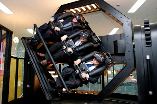 As with the VR bobsleigh, this particular attraction also came with head mounted display gear that riders would have to place before their eyes as they were strapped into the one of the three seats available. (Image: Ministry of Science and ICT)