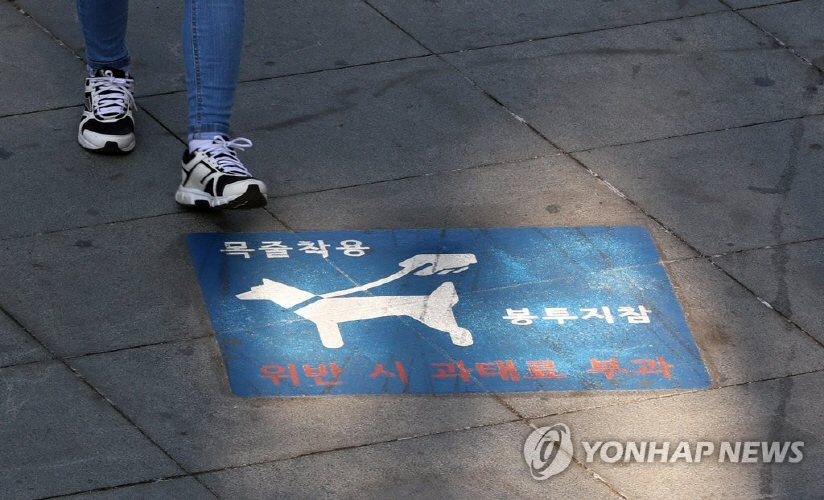 A sign at one of Seoul-based park warns visitors to use leashes and name tags for their dogs.  (image: Yonhap)
