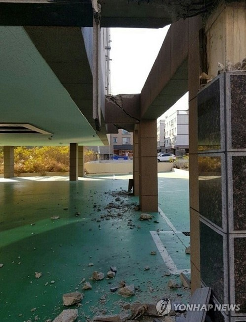 Piloti-type buildings in South Korea are in the spotlight over their vulnerability to earthquakes in the wake of the 5.4-magnitude temblor in Pohang on Wednesday. (Image: Yonhap)