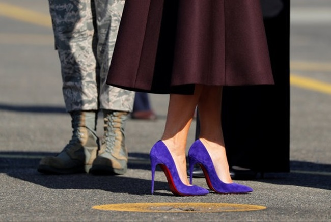 The first lady's impeccable fashion style often involves luxury brands like Dior, which she wore to meet Japanese Emperor Akihito at Tokyo's Imperial Palace, drawing a sharp contrast with her predecessor Michelle Obama, who was known for more affordable fashion choices. (Image: Yonhap)