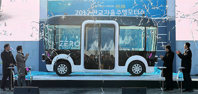 "South Korea's first driverless vehicle, dubbed ""Zero Shuttle"", will soon be tested on the roads of Seongnam City after it passes the last stages of its safety inspection. (Image: Gyeonggi Province)"