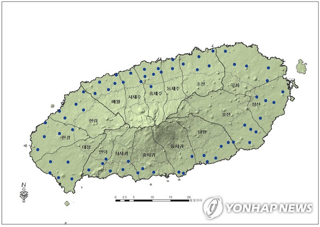 Map of Jeju's monitoring wells' locations (Image: Yonhap)