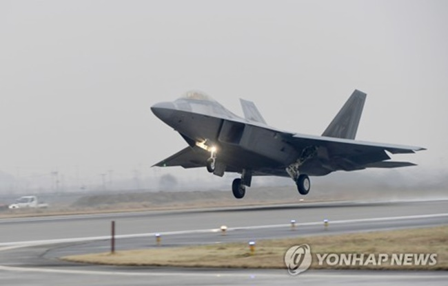 An F-22 Raptor stealth jet takes off from a South Korean Air Force base in Gwangju on Dec. 4, 2017. (Image: Air Force)