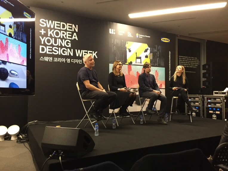 Marcus Engman (1st from L), global head of design at IKEA, and Swedish Ambassador to South Korea Anne Hoglund (2nd from L) take questions from reporters at a press conference in Seoul. (image: Yonhap)