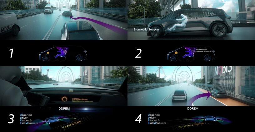 Photo graphic images show how the DDREM technology works in the case of a driver's drowsy driving on a motorway. (image: Hyundai Mobis Co.)