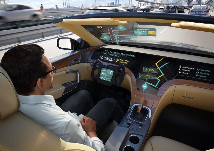 A computer-generated image of how the company's envisioned connected-car solution developed with HERE Technologies may look on a self-driving automobile. (image: LG Electronics)
