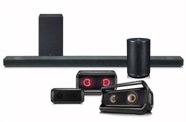 The South Korean tech giant said it will display sound bars, portable speakers and AI audio products at the CES 2018, slated for January in Las Vegas. LG said the products will combine high-end technologies from the two companies to deliver optimized audio experiences for users. (Image: LG Electronics)