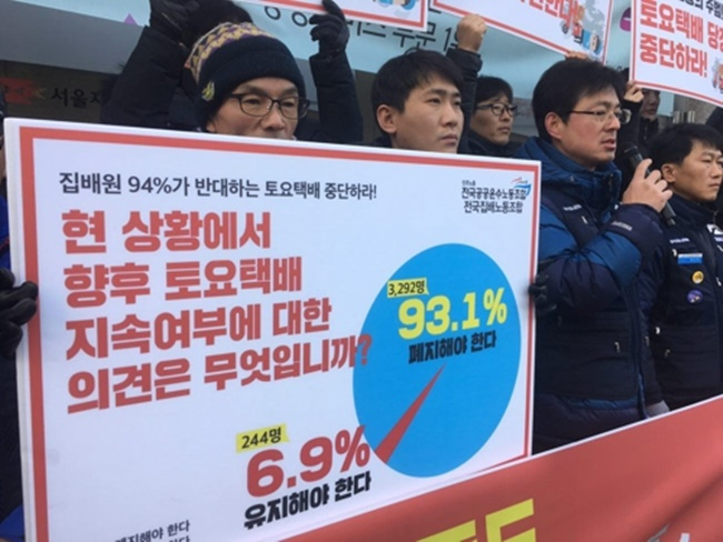 According to the Korean Postal Workers Union, over 93 percent of the 3,500 respondents surveyed said they support the abolishment of Saturday delivery.(Image: Korean Postman Worker's Union)