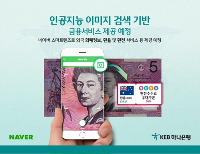 The two signed a business agreement for an image search service based on Naver's AI system that will give users information about foreign currencies photographed through a 'smart lens', such as exchange rates and the country. (Image: KEB Hana Bank)