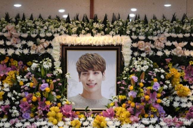 In a suicide letter released by his best friend Nine9 from rock band Dear Cloud, Jonghyun said he was 'broken from inside' and that 'depression slowly began eating away at me before swallowing me, and I couldn't fight it.' (Image: Yonhap)