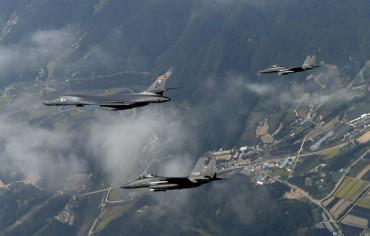 Two B-1B Bombers Train Over Yellow Sea