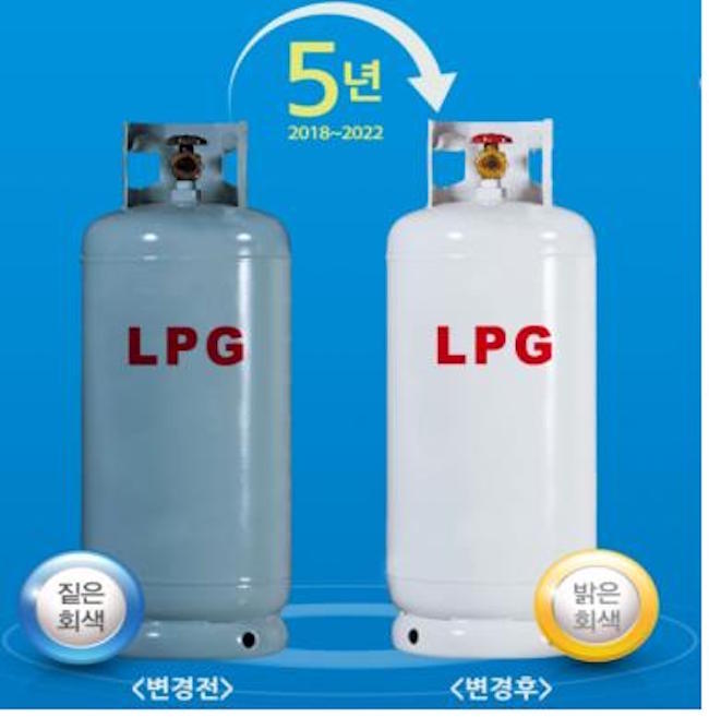 "After 54 years, LPG tanks are going from the ubiquitous dark grey with dull, red lettering to a near-white grey with a bolder, red ""LPG"". (Image: Yonhap)"