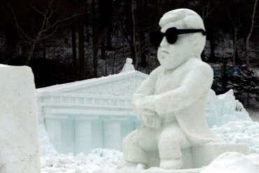 Snow Sculptures of King Kong, Psy Greet Visitors to Taebaek Mountain Snow Festival