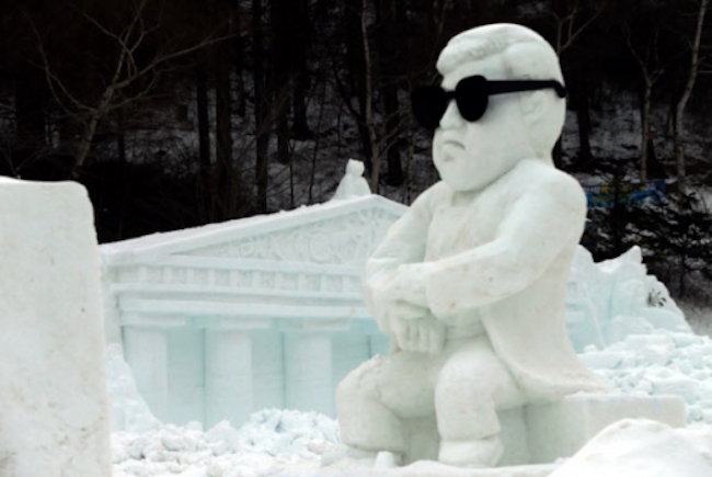 Dozens of snow sculptures of King Kong, Psy and other recognizable figures and landmarks present picture-perfect photo opportunities. (Image: Yonhap)