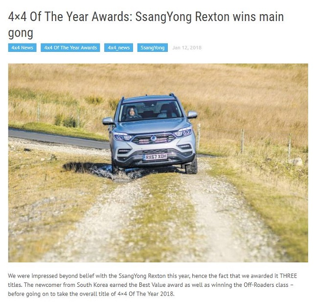 The G4 Rexton beat out noteworthy competitors such as the Land Rover Discovery and Range Rover, and the Jeep Renegade to win 4x4's recognition. (Image: 4x4 website screenshot)