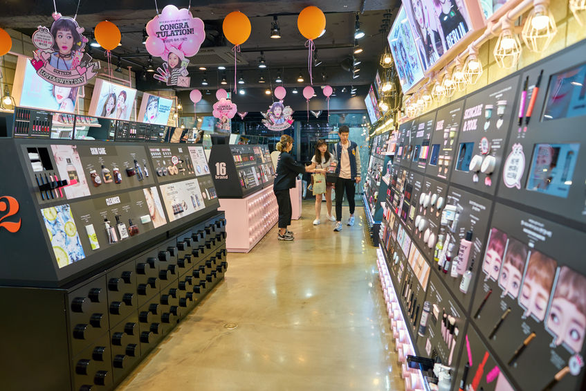 Makeup testers at beauty stores across South Korea have been found ridden with germs, a new study has shown. (Image: Kobiz Media)