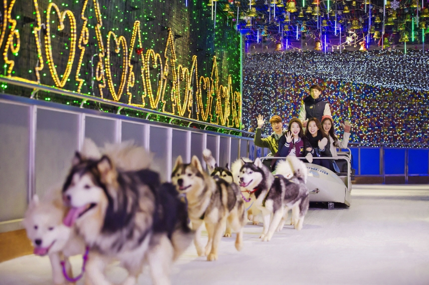 A group of people riding a dog sled at an indoor snow theme park in Goyang, Gyeonggi Province. (image: One Mount)