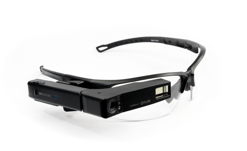 The ARSENZ ThermoGlass with a FLIR Lepton thermal sensor is a wearable augmented-reality device that mounts to glasses and allows you operate hands-free and see a thermal image. (image: FLIR Systems, Inc.)