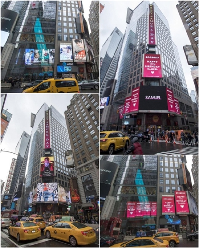 The singer's entertainment agency told Yonhap News that fans had put up signs wishing Samuel a happy 17th birthday (Samuel is 17 in Korean age) on digital screens at New York City's Times Square. (Image: Brave Entertainment)
