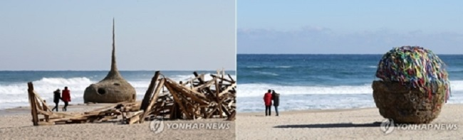 Artwork at Gangneung Gyeongpo Beach (Image: Yonhap)