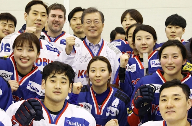 Whatever the political motivations behind the joint North and South Korean hockey team, the unified Korea team has already garnered a win in generating interest in ice hockey among the general public. (Image: Yonhap)