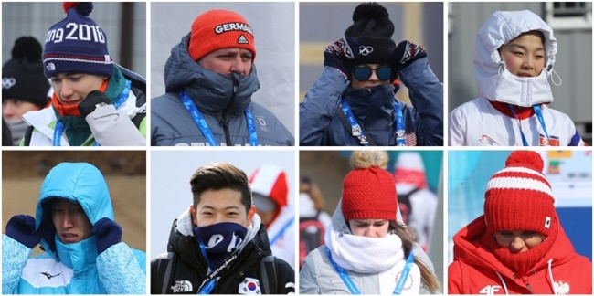 Despite security concerns over the volatile neighbor north of the border, cold weather appears to be the biggest challenge facing athletes and officials at the PyeongChang Olympics. (Image: Yonhap)