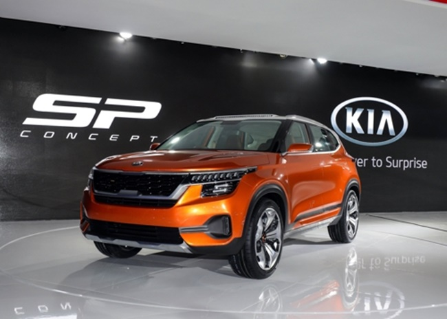 The compact SP SUV concept was showcased at the 14th Auto Expo 2018, India's largest motor show that kicked off near New Delhi for a week long run. (Image: KIA Motors)