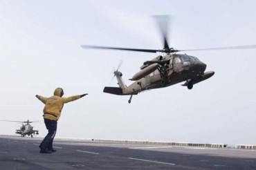U.S. Troops Conduct Copter Landing Operation on Dokdo Ship