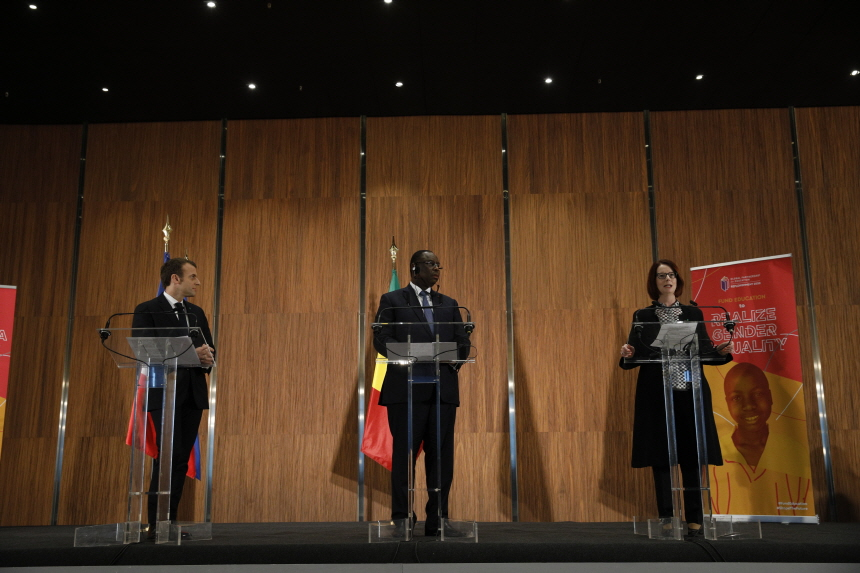 President Emmanuel Macron, President Macky Sall, and Julia Gillard. (image: Global Partnership for Education)