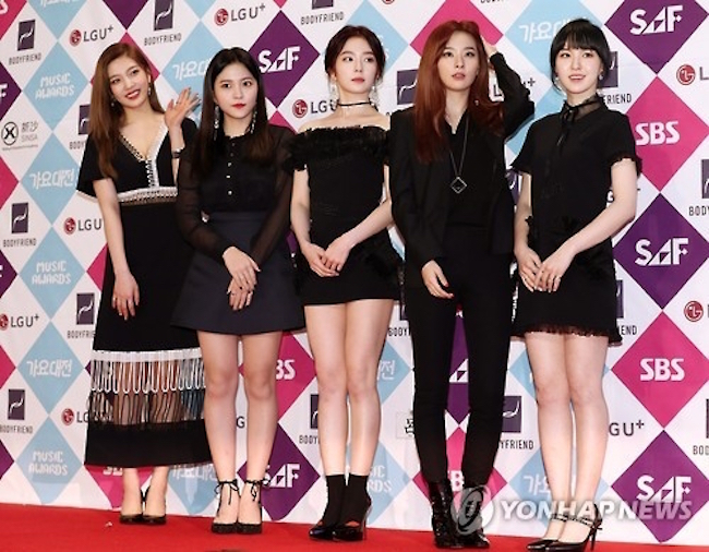 "Red Velvet will sing two of its latest hits, ""Red Flavor"" and ""Bad Boy,"" during two rare performances by a South Korean troupe in Pyongyang next week, sources well informed of the shows said Monday. (Image: Yonhap)"