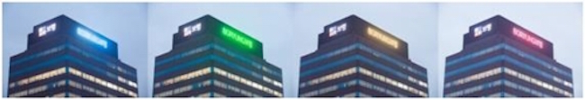 "The letters that spell ""BORYUNG"" atop a corporate building located in Jongno 5-ga, Seoul will change color according to the fine dust concentration levels in the air. (Image: Boryung Pharmaceutical)"