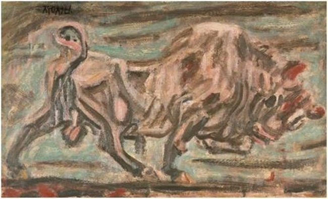 """Lee Sung-seob's """"A Bull"""" is shown in this image provided by Seoul Auction. (Image: Yonhap)"""