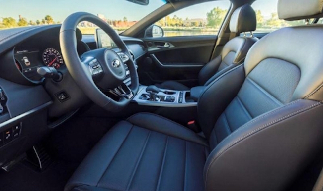 Kia Motors Corp.'s Stinger sports car and Hyundai Motor Co.'s sub-brand Genesis G80 sedan made this year's Autotrader top 10 best car interiors for vehicles under $50,000, the automakers said Tuesday. (Image: Kia)