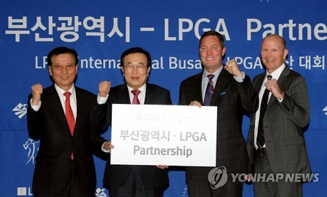 An agreement between the city authorities and the LPGA was reached during a ceremony at Busan City Hall. (Image: Yonhap)