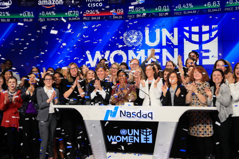 Phumzile Mlambo-Ngcuka, Under-Secretary-General of the United Nations and Executive Director of UN Women (center left), is joined by Adena Friedman, President and CEO of Nasdaq (center right), to ring the Nasdaq Stock Market Closing Bell in celebration of International Women's Day. (image: Nasdaq)