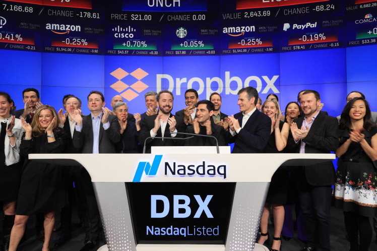 Dropbox, Inc. (Nasdaq:DBX), a leading global collaboration platform that's transforming the way people work together, visits the Nasdaq MarketSite in Times Square in celebration of its initial public offering (IPO). (image: Nasdaq)