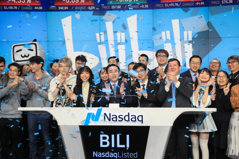 Bilibili Inc., an iconic brand of online entertainment for the young generations in China, visits the Nasdaq MarketSite in Times Square in celebration of its initial public offering (IPO). (image: Nasdaq)