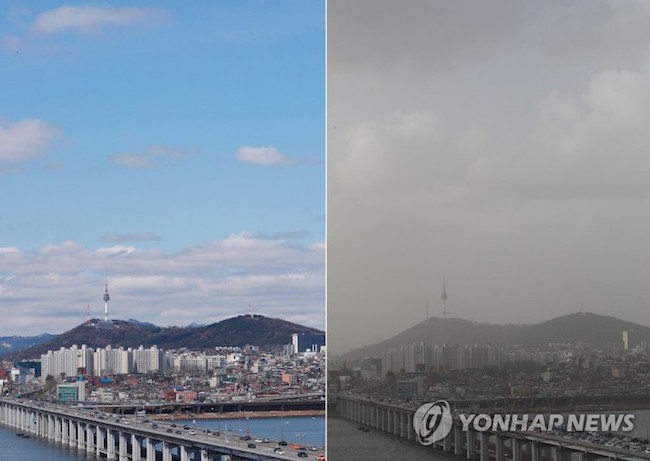 "Snapshots of Seoul's skyline when fine dust levels were ""good"" (left) on April 4 and ""very bad"" (right) on April 6."