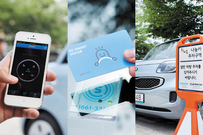 The convenience in being able to rent vehicles in 10-minute blocks and aggressive financial investment has kept Socar ahead of Greencar as the car sharing industry leader. (Image: Socar)