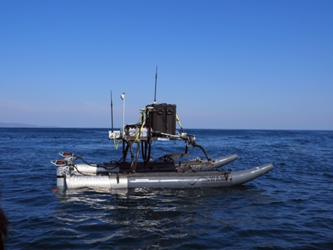 A team of researchers led by Shin Dong-hyeok remotely controlled the unmanned ship equipped with a multibeam echo sounder to check underwater features in relatively shallow waters, according to the Korea Institute of Ocean Science and Technology (KIOST). (Image: KIOST)