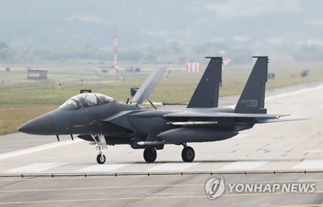 This file photo shows an F-15K jet. (Image: Yonhap)