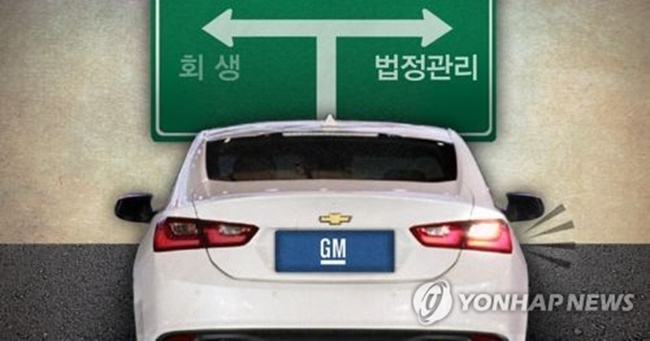 """This graphic shows a Chevrolet vehicle with a license plate reading """"GM"""" facing a choice between rehabilitation on the left and court receivership on the right. (Image: Yonhap)"""