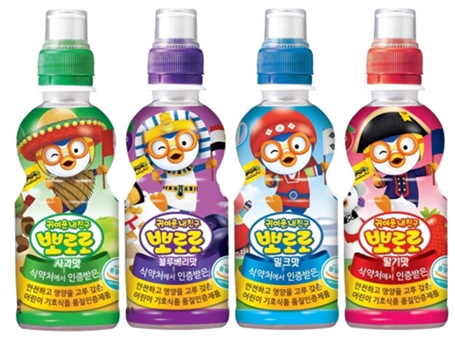 Pororo Drinks recently gained certification from the Indonesian Council of Ulama, or MUI, marking the first such case for beverage products targeting children, the company said. (Image: Paldo Co.)