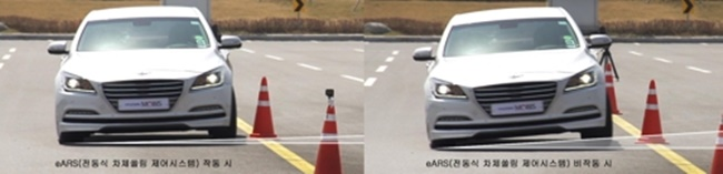 In these undated photos provided by Hyundai Mobis, the company tests its new electrical Active Roll Stabilization (eARS) system on a Genesis sedan at its vehicle test site. (Image: Hyundai Mobis)