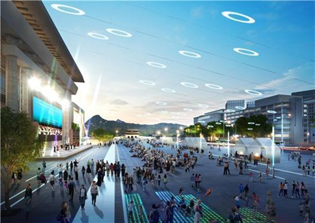 Gwanghwamun Plaza has been mocked in the past as little more than a large median strip over its awkward size that makes calling it a 'plaza' a bit of a stretch.(Image: Seoul Metropolitan Government)