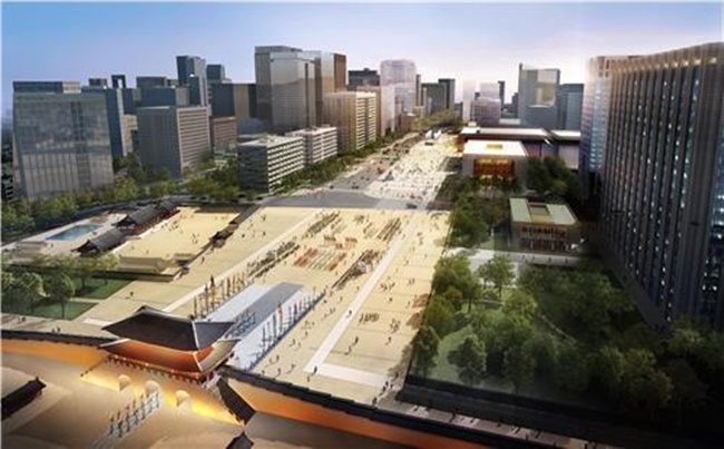 The Seoul Metropolitan Government and the Cultural Heritage Administration unveiled plans for the new square on Tuesday, which will see the current Gwanghwamun Plaza grow significantly larger with the elimination of four of the 10 vehicle lanes to connect the square with the street where the Sejong Center for the Performing Arts is situated. (Image: Seoul Metropolitan Government)