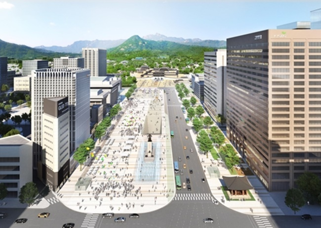 Gwanghwamun Plaza, the landmark square facing Gyeongbokgung Palace at the heart of Seoul, is due for a significant expansion under a new urban development project.(Image: Seoul Metropolitan Government)